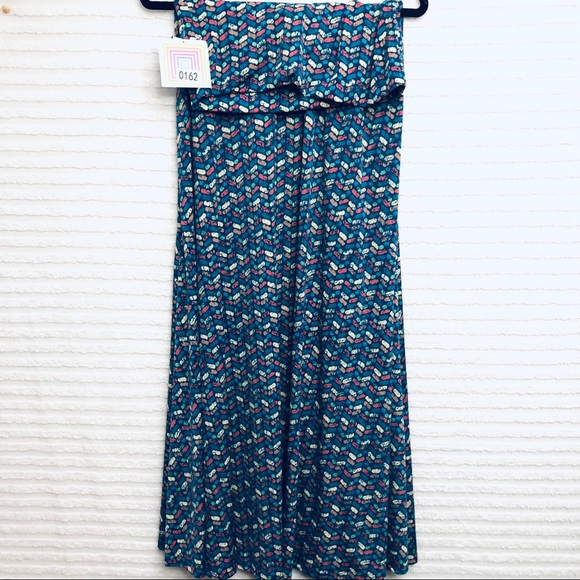 LuLaRoe Dresses & Skirts - LuLaRoe Blue Chevron Multicolor Print Maxi Skirt